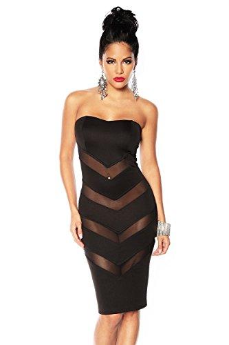 Amynetti Damen Kleid Sexy Elegantes Aussergewöhnliches Bandeaukleid Bandeau Partykleid mit transparenten Einsätzen