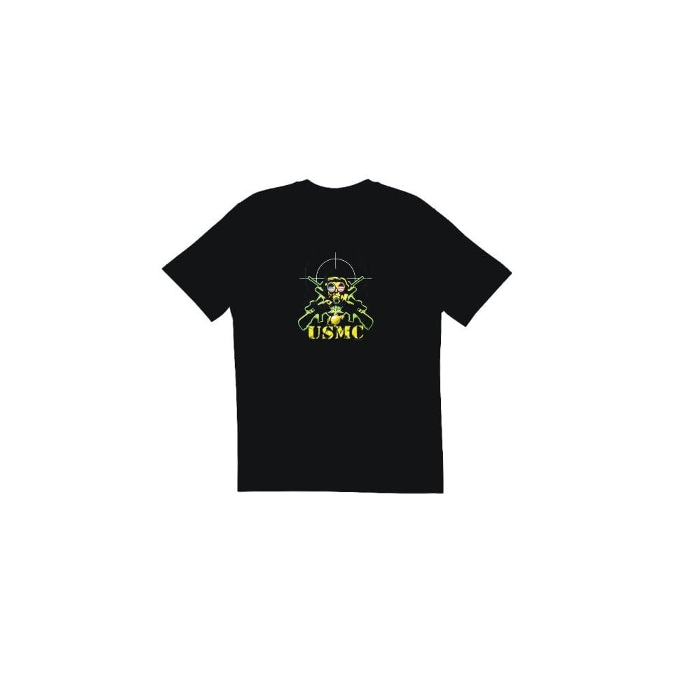 USMC Marines Sniper Gas Mask Logo Mens Tee Shirt in 12