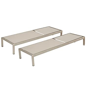 Outdoor Aluminum Chaise Lounge Set (Set of Two)