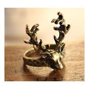 [キューキューノコレクション]QQ\'s Collection 動物 リング 鹿の角 リング シカ リング ブロンズ リング 装 指輪 レディース アクセサリー JE032 [インポート]