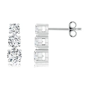 Prong Set Round Diamond Three Stone Earrings in Platinum - Cyber Monday and Black Friday