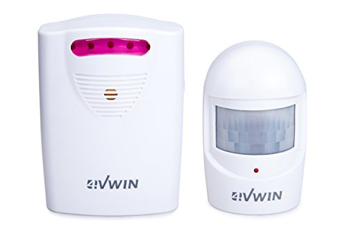 4VWIN Driveway Alarm - Wireless Home Security with Long Range 1 Receiver and 1 PIR Motion Sensor Detector Infrared Alert System Kit (Long Range Driveway Alert System compare prices)