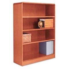 * Radius Corner Wood Veneer Bookcase, 4-Shelf, 35 5/8 x 11-3/4 x 48, Medium Oak