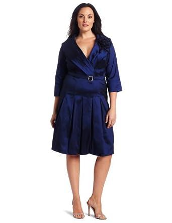 Jessica Howard Women's Plus-Size  Belted Stretch Taffeta Dress with Shawl Collar, Navy, 16W