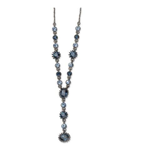 Light & Dark Blue Crystals 16in w/Ext Y Necklace