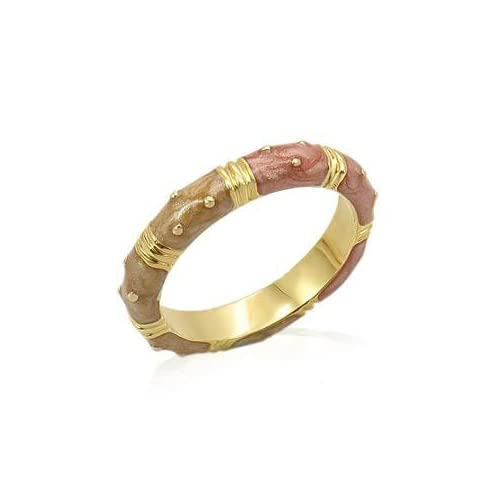 FASHION JEWELRY   Tan & Bronze Gold Plated Enamel Ring Band