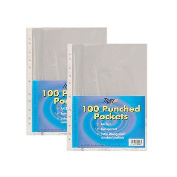 tiger-a4-strong-plastic-poly-pockets-wallet-x-200-clear-sleeves