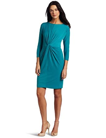Donna Morgan Women's 3/4 Dolman Sleeve Front Knot Dress, Jade, 10