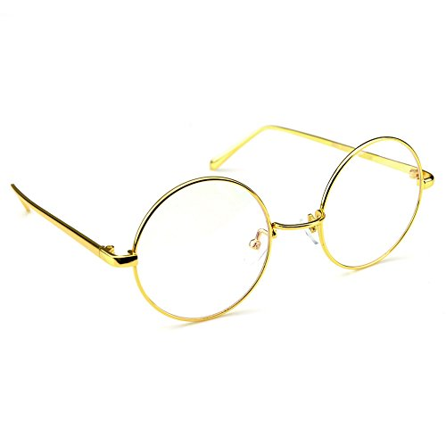 PenSee Circle Oversized Metal Eyeglasses Frame Inspired Horned Rim Clear Lens Glasses (Gold) (Round Vintage Glasses compare prices)