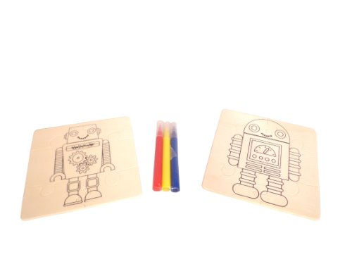 WeGlow International Robots Mix and Match Wood Puzzle Kit, Makes 2 (Set of 3) - 1