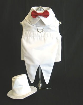 Dog Wedding Tuxedo w/ Formal Tails - White, X-Small