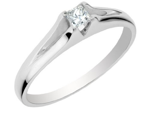 Princess Cut Diamond Promise Ring in 10K White Gold, Size 6