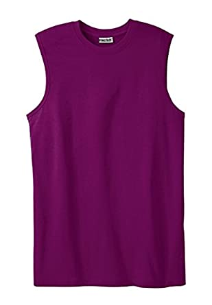 Kingsize Men's Big & Tall Lightweight Cotton Muscle Shirt, Dark Magenta Tall-L