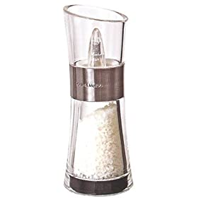 Cole and Mason Inverta Flip Salt Mill, Brushed Chrome and Clear Acrylic