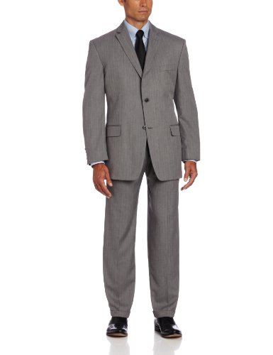 Haggar Men's Herringbone Two Button Center Vent Suit Coat, Gray, 44 R