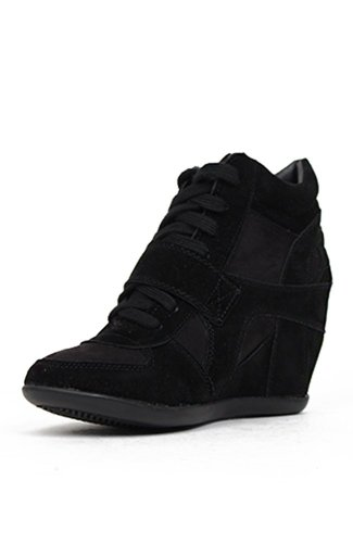 Breckelle's METRO-01W Women's Round Toe Lace Up Wedge Sneakers, Black, 7