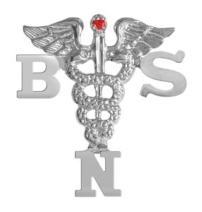NursingPin - Sterling Silver BSN Lapel Pin  Ruby