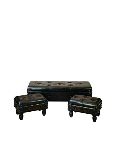 Set of 3 Leather Benches, Black