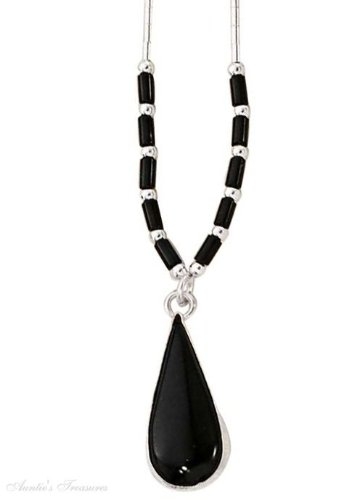 Sterling Silver Choker Necklace Black Onyx Heishi Beads Plain Black Onyx Teardro
