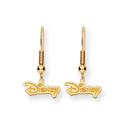 Disney's Logo Wire Earrings in 14 Karat Gold