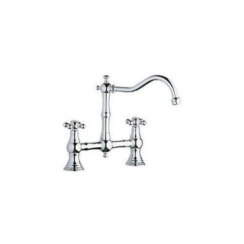 Grohe 20128000 Bridgeford Chrome Bridge Kitchen Faucet w/ Cross Handles