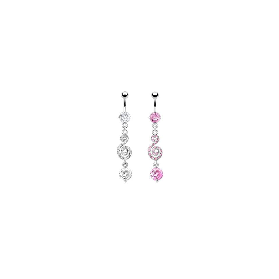 Belly ring with dangling jeweled swirl and gem, pink