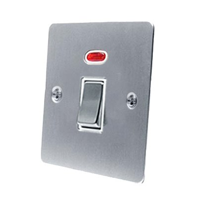 20A Double Pole Switch - Satin Matt Chrome - Flat - White Insert Metal Rocker Switch - w/ Neon Indicator