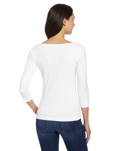 Three Dots Women's 3/4 Sleeve British Tee,White,Medium