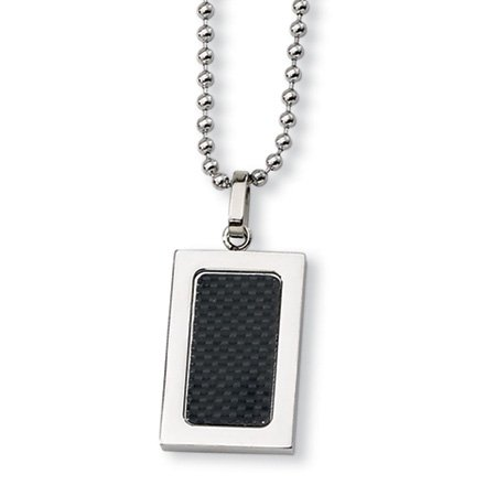 Stainless Steel Black Carbon Fiber Rectangular Necklace 22 Inch