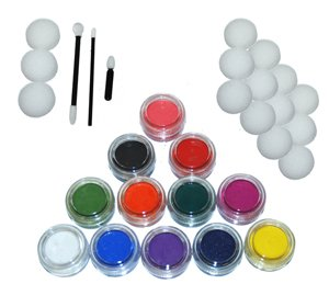 Kustom Body Art 12 Color Primary Face Paint Color Set 10 ml with Applicator Kit