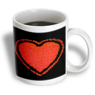 Yves Creations Hearts - Red Heart Pebbles On Black - 11Oz Mug (Mug_9315_1)
