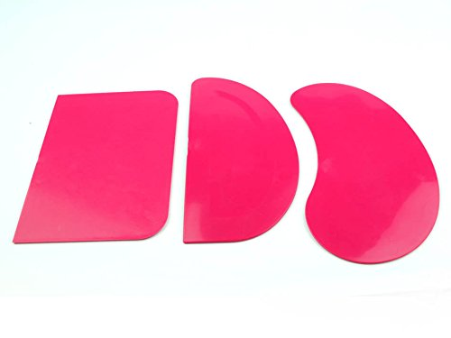 Set of 3 Pink Flexible Pastry Bread Dough Pizza Scraper Cake Mixing Baking. UK Made