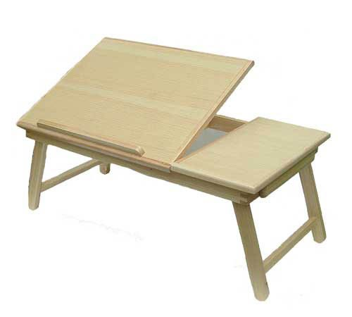 "Space Saver Solid Wood Laptop Bed Tray Multiuse Laptop Table Desk, Notebook Stand Holds up to 18.4"" Screen"