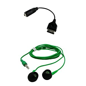 Premium Samsung M300 to 3.5mm Audio Adapter and 3.5mm Neon Green Stereo Headphones Combo for Samsung A867 Eternity, T919 Behold, i910 Omnia, i907 Epix, A767, A137, T109, U650 Sway, A837 Rugby, M310, A237, T339, T229, M200, I325 Ace, I617 Blackjack II, A747 SLM, A127, T429, M520, M510, R500 HUE, T729 Blast, T539 Beat, A517, A737, T439, T739, R300, R200, A827 Access