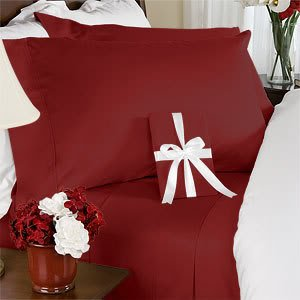 800 Thread Count Egyptian Cotton Unattached Waterbed Sheet Set, Cal King, Solid Burgundy back-598656