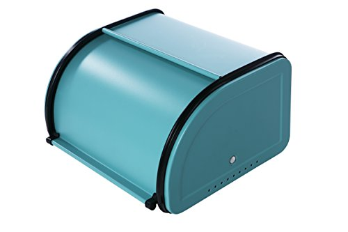 Roll Top Bread Box For Kitchen - Bread Bin Storage Container For Loaves, Pastries, and More 10 x 8.5 x 5.5 Inches, Teal by Juvale (Retro Kitchen Bread Box compare prices)