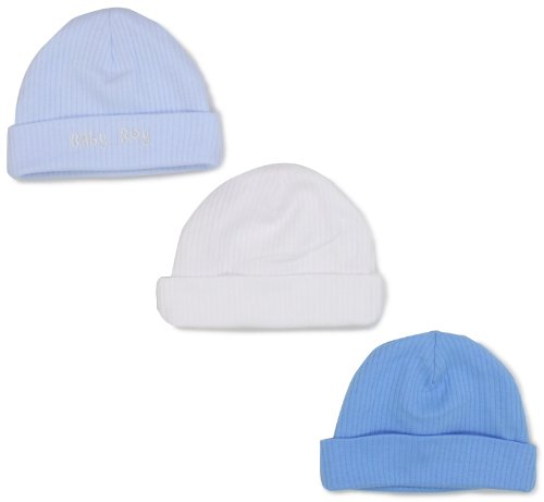 Gerber Baby-Boys  3 Pack Textured Knit Cap, Blue/White,