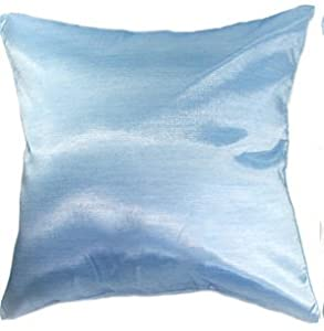 Light Blue Silk Throw Pillow : Amazon.com: Artiwa Solid Light Blue Silk Sofa Decorative Throw Pillow Sham Cover 16x16