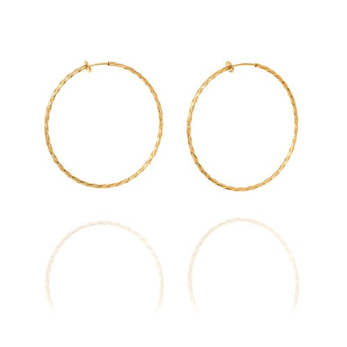 Twisted Creole Hoop Clip On Earrings - 6cm - Gold