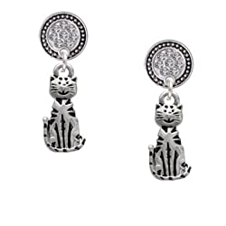 2-D Striped Cat Clear Crystal Silver Disc Lulu Post Earrings [Jewelry]