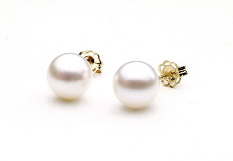 AAA Quality Round 6.5-7mm Akoya SaltWater cultured White Pearl Earrings with 14K Yellow Gold Mount