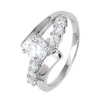 .925 Sterling Silver Promise Ring With Round Cubic Zirconias