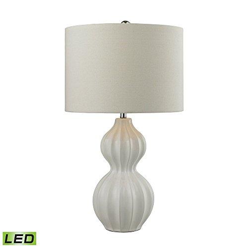 "26"" Ribbed Gourd LED Table Lamp in Gloss White D2575-LED"