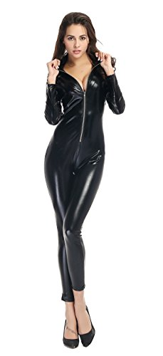AvaCostume Women's One Piece Catsuit Sexy Black Club Wear Costume