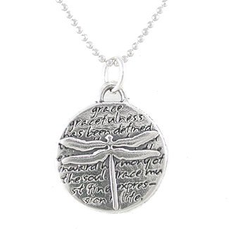 Small Round Dragonfly Pendant with Inspirational Words in Sterling Silver on a 16