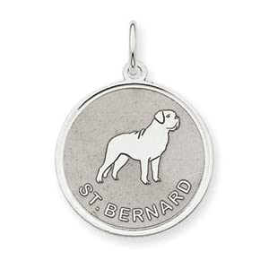 Sterling Silver Saint Bernard Dog Round Pendant Charm