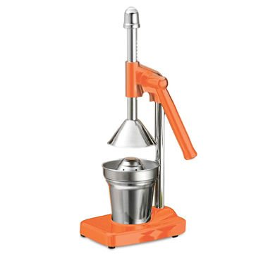 Tramontina Manual Lever Citrus Juice Press Color: Orange Use At Home To Squeeze Fruit Lemon Orange Includes Juicer Strainer & Cup Stainless Steel Metal Look With Orange Parts