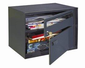 Enzian Post Box Extra Large Black Swiss Letter Box Mail Box -xternal (mm) 305 x 415 x 310 Upper compartment mm -insie 122x410x267 Bottom compartment mm inside 175x410x267