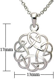 Silver Pendant - celtic design - Comes with 16' silver link chain. Beautifully designed and hand polished to a very high jewellery standard. delicately packed in a lovely velvet pouch. You can buy the matching earrings also: see menu below
