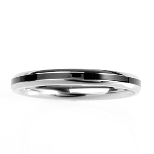AnnroZ Womens Punk Rings(Provide Free Engraving) Stainless Steel Line Shape Silver US Size 5 U-Shape Assembly